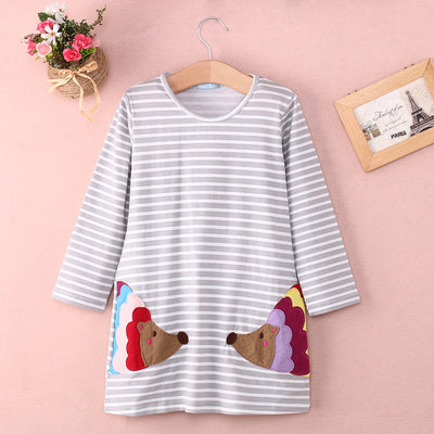 Autumn New Casual Baby Girl Dresses Girls Dress Striped Print Baby Dress