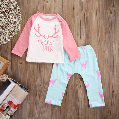 Newborn Toddler Infant Kids Baby Girl Kids Baby Girls Autumn Deer clothes set T shirt pans suit  Outfit Set