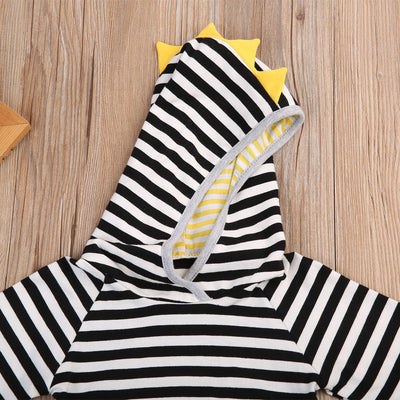 Autumn Winter Cute Newborn Baby New Fashion Striped Hooded Top + Long Pants 2pcs Hoodies Baby Clothing 0-24M