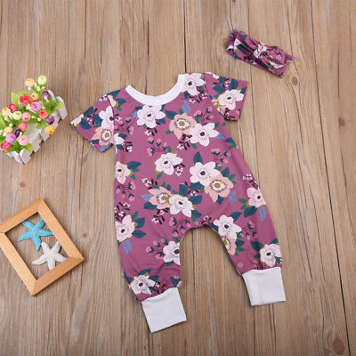 Autumn Baby Clothing Infant Baby Girl Floral Long Sleeve Romper Jumpsuit+Headband Outfit 2pcs Set