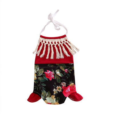 Summer Newborn Baby Girls Cute Feet Romper Flower Tassel Backless Jumpsuit Outfits Clothes Set