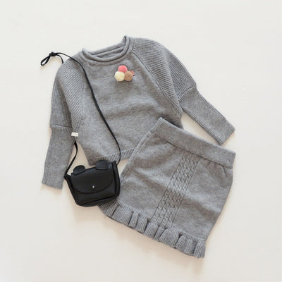 Autumn winter girls clothing sets knitted sweater dress kids warm sets for toddler princess style