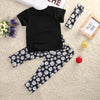 summer baby Girl clothes 3pcs/set Headband+ T-shirt +Floral Pants baby Girls clothing set infant 3pcs suit