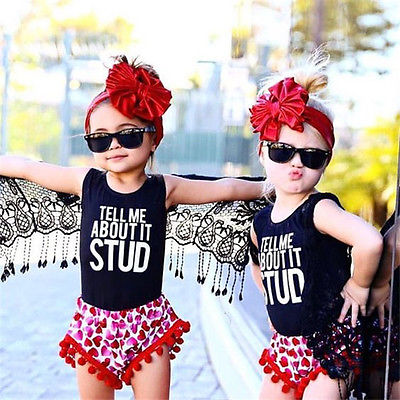 Toddler Kids Baby Girls Summer Clothes T-shirt Tops Short Pants Outfits Set
