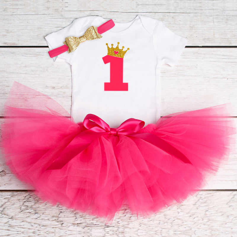 Toddler Christening Gown Fluffy Pink Baby Dresses - FirstLook