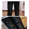Autumn winter new kids clothing thick patchwork girls leggings hollow out flower faux leather pants thick big girls boot cut
