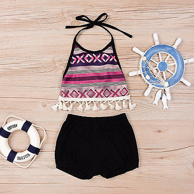 2PCS Toddler Infant Baby Girl Outfit Halter T-shirt Tops Pants Short Clothes Set