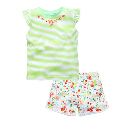 Girls Casual Clothes Set Children Short Sleeve Cartoon T-shirt + Shorts Sport Suits Girls Clothing Sets for Kids