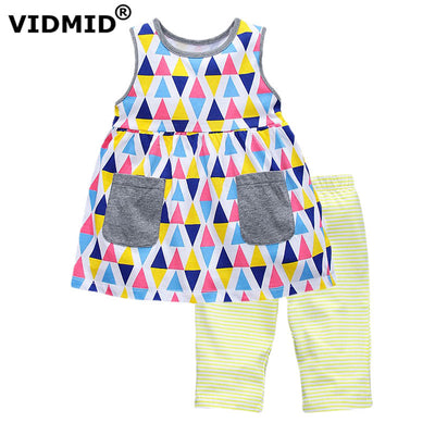 Kids Clothes cotton Girls Clothing Sets Children Cartoon Printing T-shirt+Shorts Suits Baby kids Girls Clothes