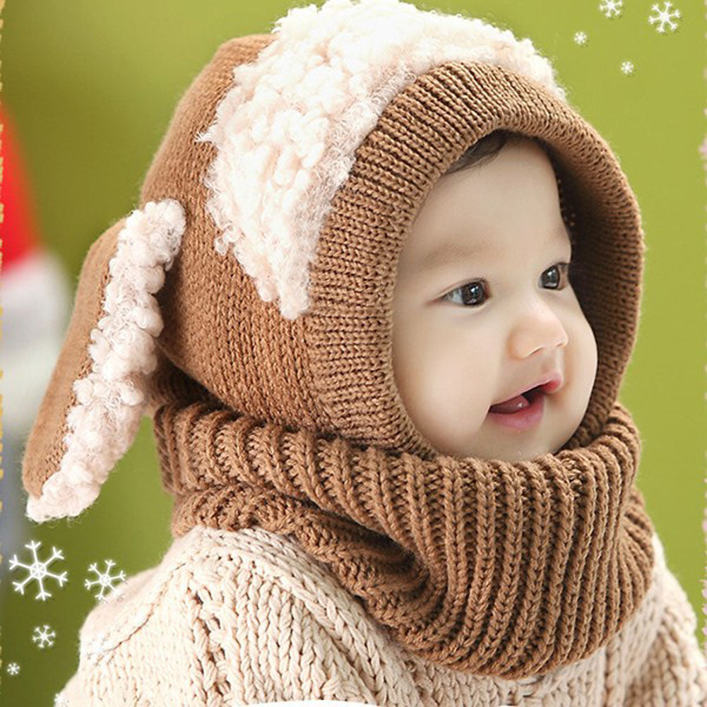 Girls Children Kids Winter Baby Caps Hat and Scarf Beanie Warm Hat For  Girls Hooded Scarf b31fa5255d9