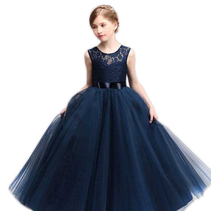 60a48e9a7 Children Lace Flower Girls Dresses Wedding Princess Costume Teenager  Dancing Party Elegant Long Gowns