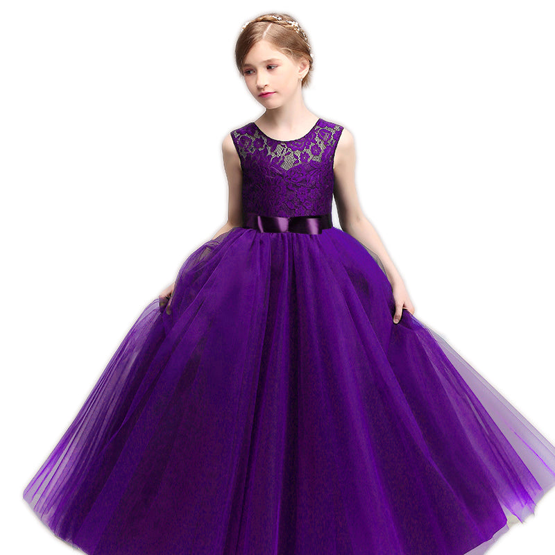 Children Lace Flower Girls Dresses Wedding Princess Costume Teenager ...