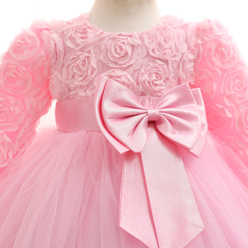 Girl Dresses Christening Gown New Infants Dress Floral Bow Baby ...