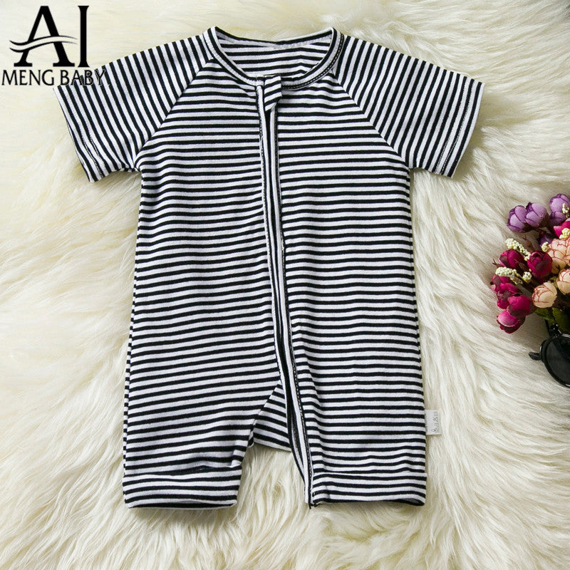 a71b436cb Baby Black Stripe Rompers Toddler Baby Outfits Little Boys Girls ...