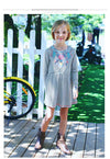 Girls Long Sleeve Dress Kids Dresses for Girls Clothes Striped Flower Embroidered Princess Dress Children