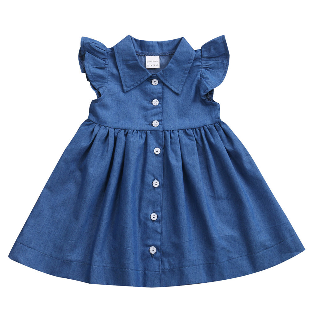 ce79a75ca2 Girls Dress Baby Girls Kid Toddler Denim Dresses Clothes Ruffle Sleeve  Outfits Dress For Girls