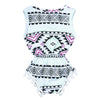 Flower born Baby Girl Clothes Baby Girls Sleeveless Ethnic Style Floral Printed Tassel Bodysuits Jumpsuit
