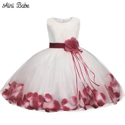 Babe  Flower Baby Girl Christening Gown Clothes Newborn Baby Girl Birthday Dress Infant Kids Party Dresses