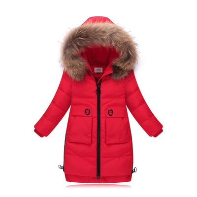eb321de17 Fashion Girl Down Jackets Children Long Model duck down Coats Girl Zipper  Hooded Fur coats Warm baby girl's down Jacket
