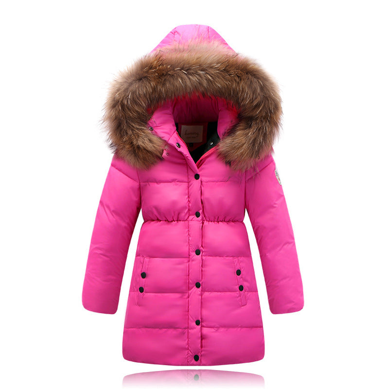 ec8fb63b4 Girl's duck down Jackets Outerwear Coats long model fashion warm Children  Down jacket real fur Warm baby girl down jacket