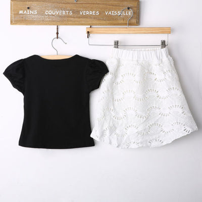 2Pcs Baby Girls Kids Cotton T-Shirt Top Lace Skirt Outfits Summer skirt