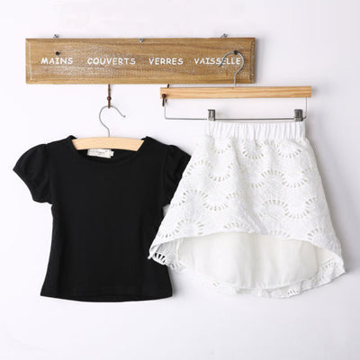 2 Pcs Baby Girls Kids Cotton T Shirt Tops Lace Skirt Outfits Summer skirt