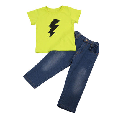 Autumn  Toddler Boy Kids Clothes Set Lightning T-shirt Jeans Denim Pants