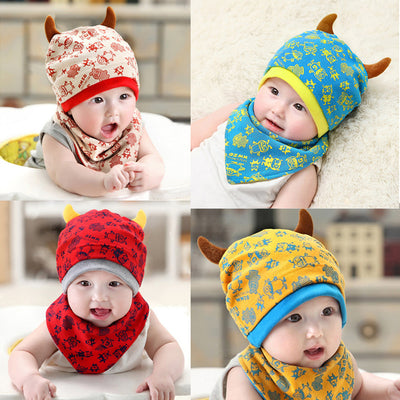 7777bc17 Children's Hats for Girls Baby Caps Hat Beanie Set +Bib Monsters Baby Hat  Cap With
