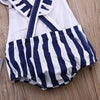 Casual Infant Baby Girl Clothes Striped Romper Backless Cross Outfits Sunsuit Playsuit