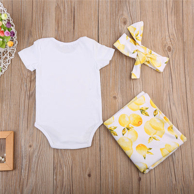 3pcs Set Newborn Baby Boy Girls Floral Swaddle Muslin Wrap Romper  New Arrival Fashion Jumpsuit and Blankets Headband