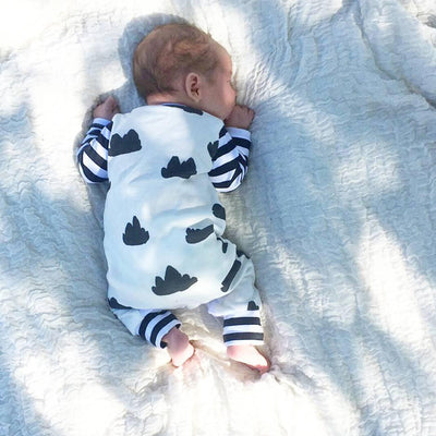 Spring Autumn Newborn Infant Baby Girl Boy Long Sleeve Clothes Striped Patchwork Romper Jumpsuit Outfits