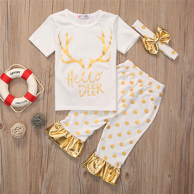 2PCS Toddler Kids Baby Girls Deer T-shirt Tops Long Pants new arrival fashion Outfits Clothes Set