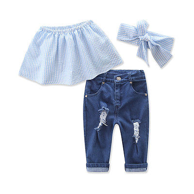 Baby Girls Kids Autumn Tank Tops Jeans Pants Outfits Set