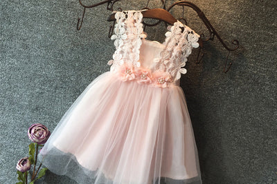 Baby Girl Princess Lace Tulle Flower Fancy Backless Gown Formal Party Dress 2-7Y