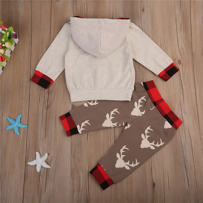 2pcs Newborn Baby Clothes Set Baby Antlers Pattern Clothes New Hot Fall Boy Girls Hoodie Tops Long Pants Leggings Set
