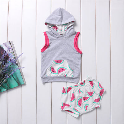 Floral Hooded Tops Pants Watermelon Baby Kids Girls Boys  new arrival fashion Clothes Outfit Set