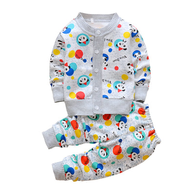Autumn winter children sweater clothing set baby girls boys cartoon printed warm clothes set kids plus velvet tracksuit