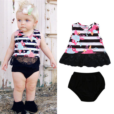 Baby Girls Clothes Striped Floral Sleeveless Casual Tops Short Pants Outfits