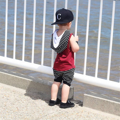 2pcs Infant Toddler Baby Boy New arrival summer fashion Hooded Tops Vest Shorts Pants Outfits