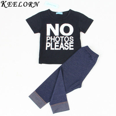 Baby Boy Clothes Summer Style Baby Clothing Sets Letter printed T-shirt Long pants 2pcs baby suits Newborn