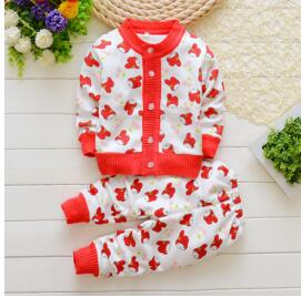 Autumn winter baby girls clothing set kids thicken Warm clothes set children Thermal cardigan sweaterspant