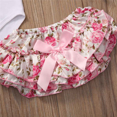 4PCS Newborn Baby Girl Romper Floral Shorts Dress Leg Warmer Headband Outfit