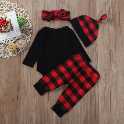 4pcs Baby Girl Clothes Set Newborn Kids Baby Girl Romper Plaid Pants Headband Hat New Arrival Fashion Outfits Set