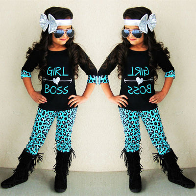Children's Clothing Set Baby Girls Clothes Suits Half Sleeve Splice Outfits Tops+Leopard Legging Trousers Clothes