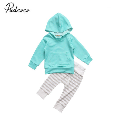 Autumn Fall Baby Clothes Toddler Kids Newborn Baby Boy Girl Hooded Tops Striped Pants Outfits Set Clothes