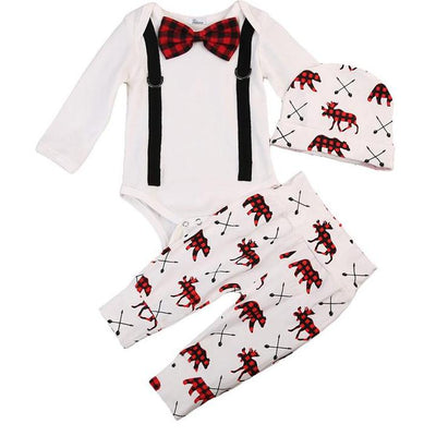 3pcs Baby Autumn Clothes Set Newborn Baby Boys Cotton Soft Gentleman Romper Deer Pants Hat Outfits