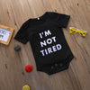 "Newborn 3- 6 -9 -12 Months Baby Boy Girls Infant Cotton Short Sleeve ""I'm not tired"" Romper Jumpsuit"