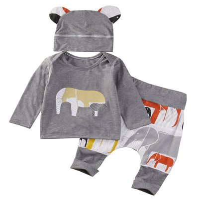 Baby Boys Infant Kids Costume Round Ears Hat Animal Tops Harem Pants  new arrival fashion Outfits Clothes Set