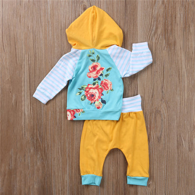 Autumn Baby Girl Cotton Clothes Set Infant Baby Girl Floral Hoodies Sweatshirt Long Pants 2pcs  New Arrival Outfits Set