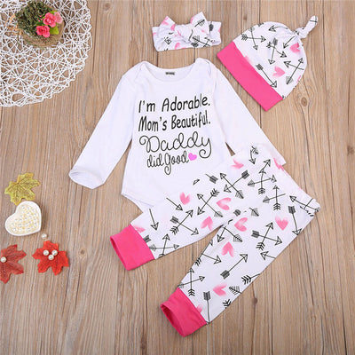 4Pcs Newborn Baby Girls Long Sleeve Letter Romper Tops Arrow Pants Baby Clothes  New Arrival Outfits Clothes Set